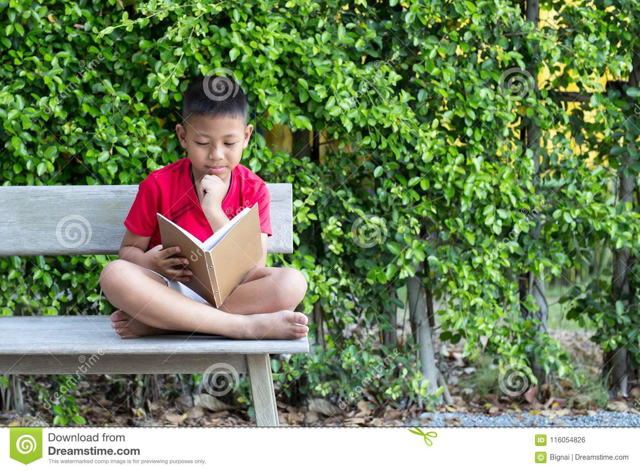 Swell Little Boy Sitting On Wooden Bench Hand On His Chin Reading Ocoug Best Dining Table And Chair Ideas Images Ocougorg