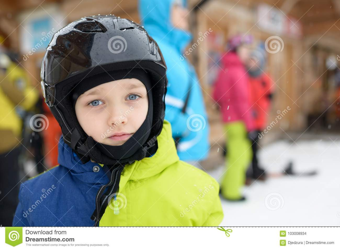 d5be621584c Little boy in ski helmet stock photo. Image of snowboard - 103008934