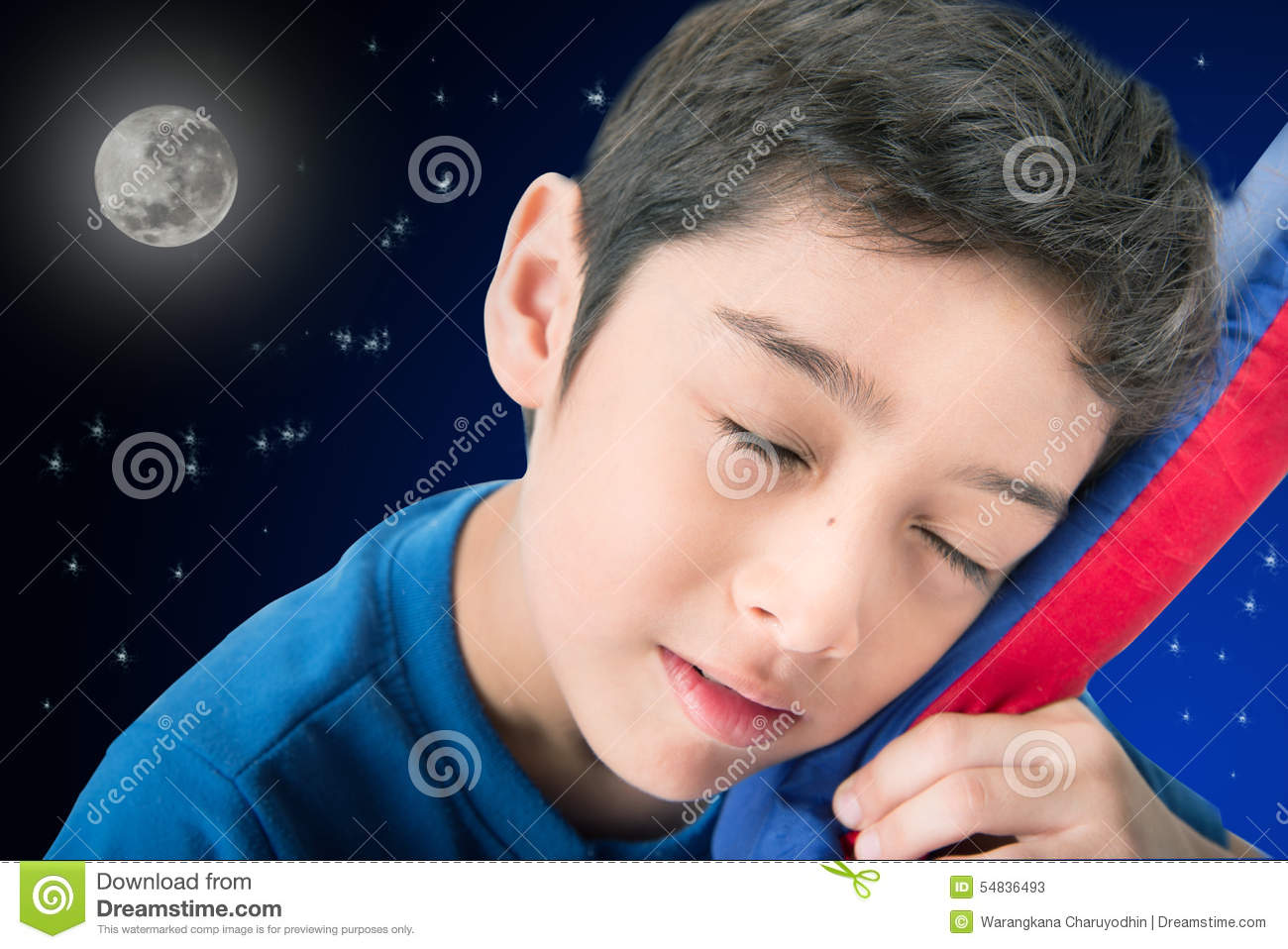 Little Boy Sleeping In Bed With Night Background Stock