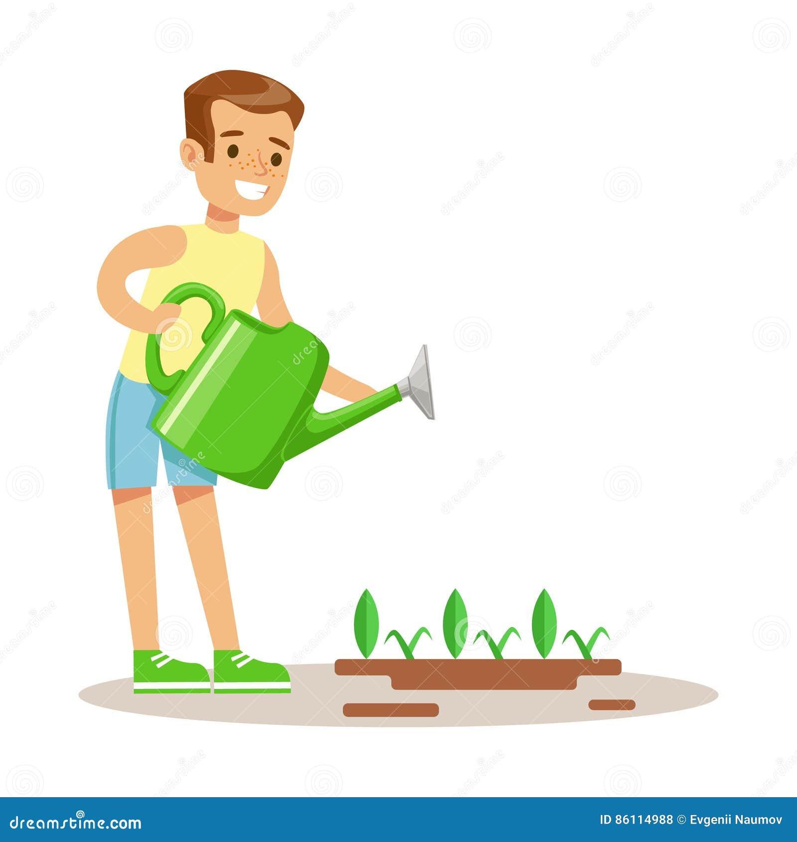 Little Boy som bevattnar den trädgårds- växten med att bevattna canen, del av morföräldrar som har gyckel med barnbarnserie