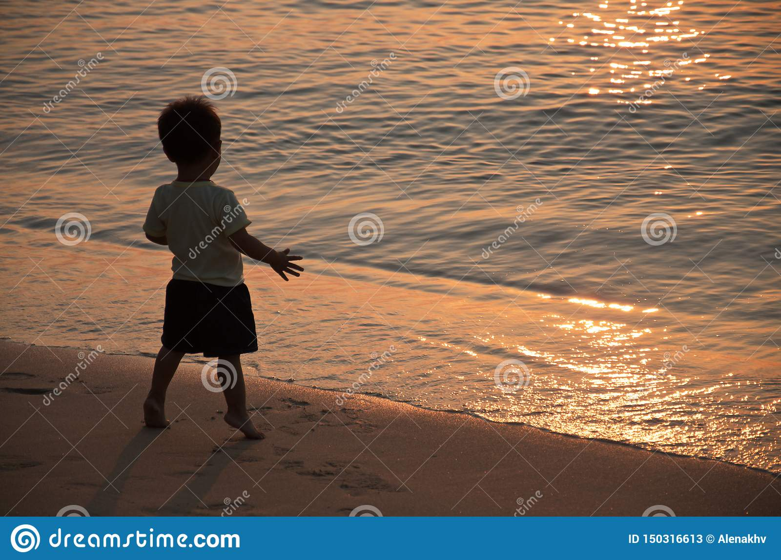 Little boy is standing on the seashore in the rays of the sunset