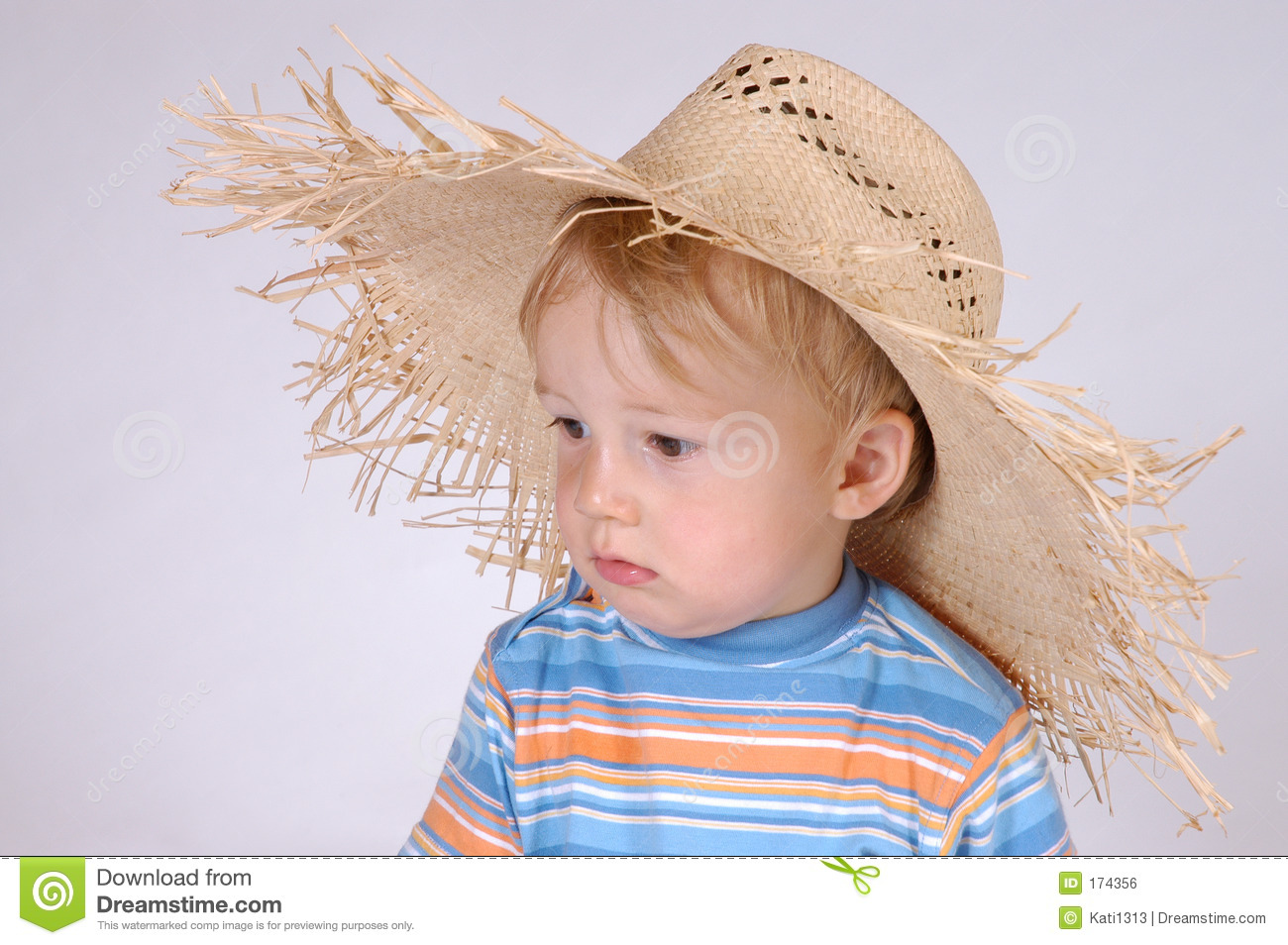 Little boy with straw hat IV