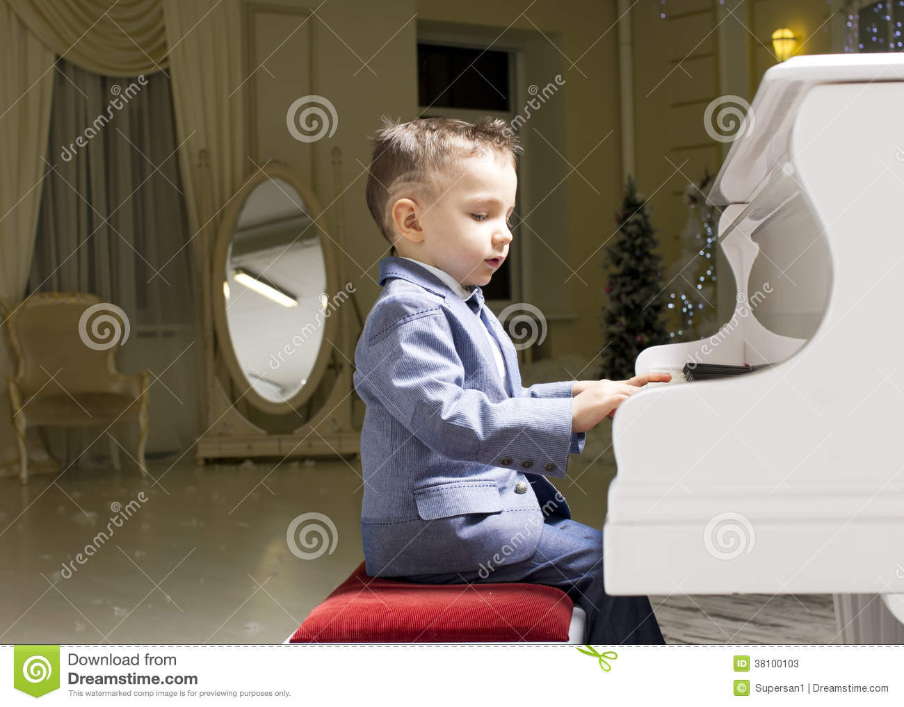 how to draw a little boy playing the piano