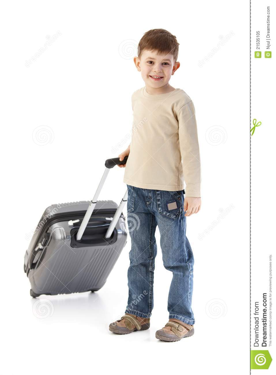 Little Boy With Suitcase Travel In The Airport Stock Image ...  Little Boy Traveling