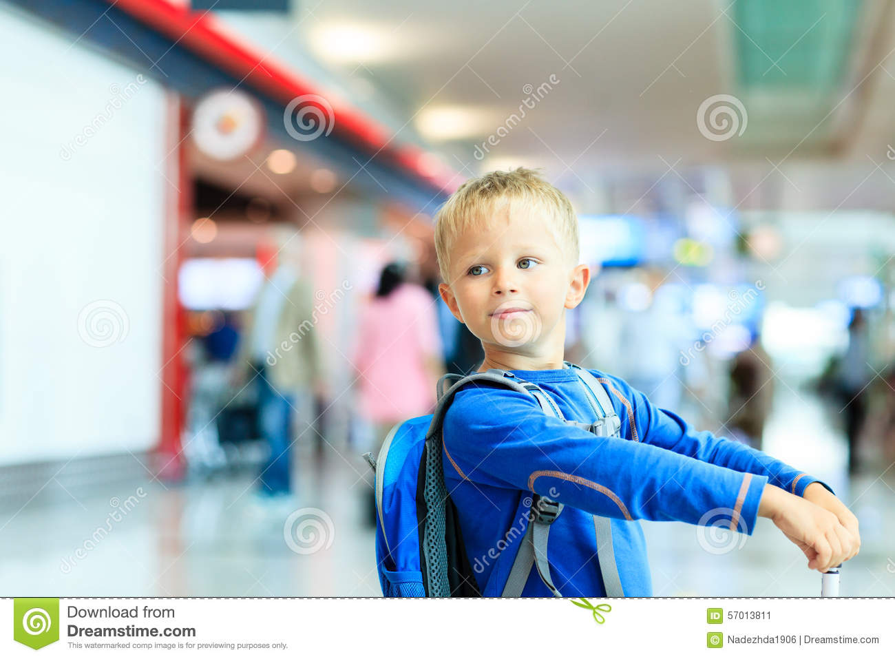 Cute Little Boy Waiting In The Airport Child Travel Stock ...  Little Boy Traveling