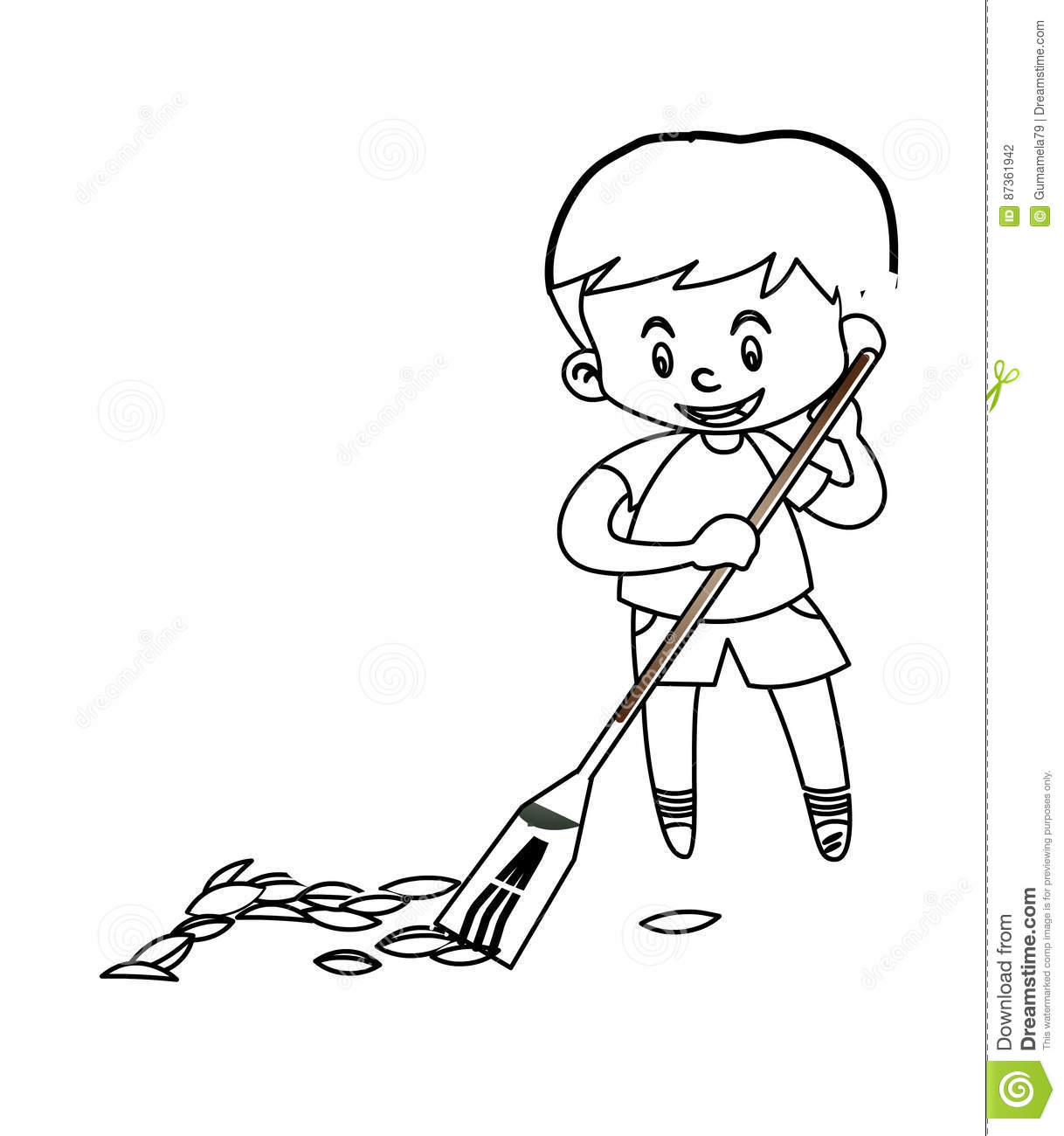 Little Boy Sweeping The Floor Coloring Page Stock