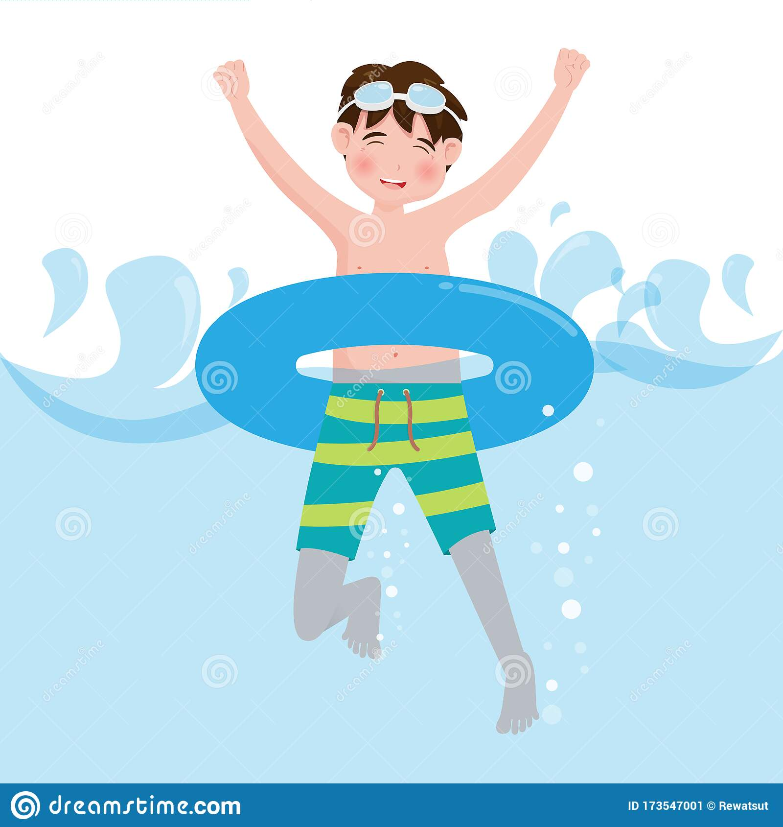 Little Boy Swimming On Pool Background Vector Illustration In Cartoon Character Flat Style Stock Vector Illustration Of Hello Goggles 173547001