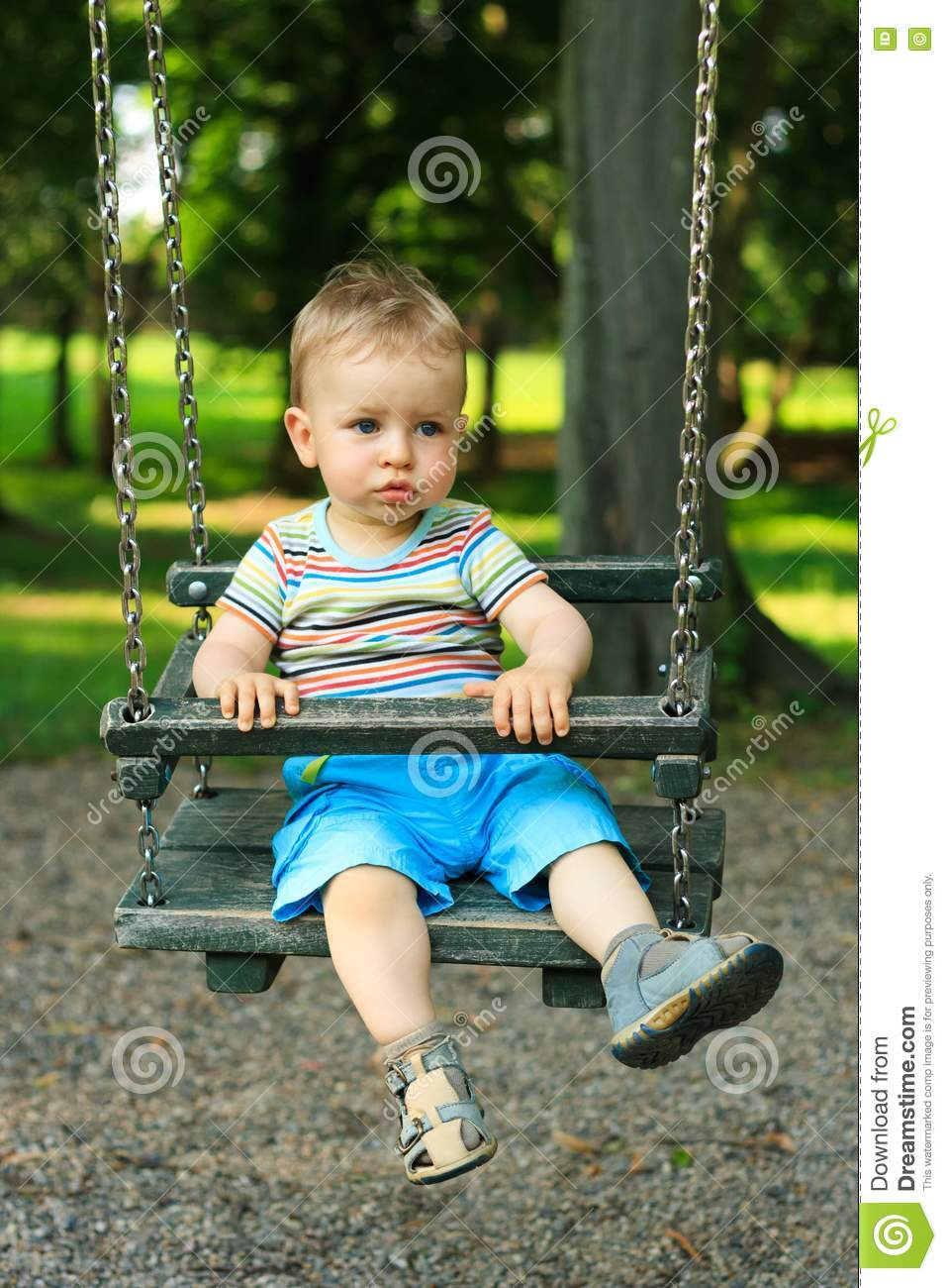 Little Boy Swinging Stock Photo. Image Of Activity, Play