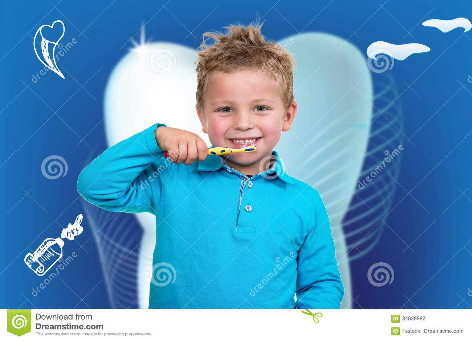 Little Boy Szczotkuje zęby z stomatologicznym tłem