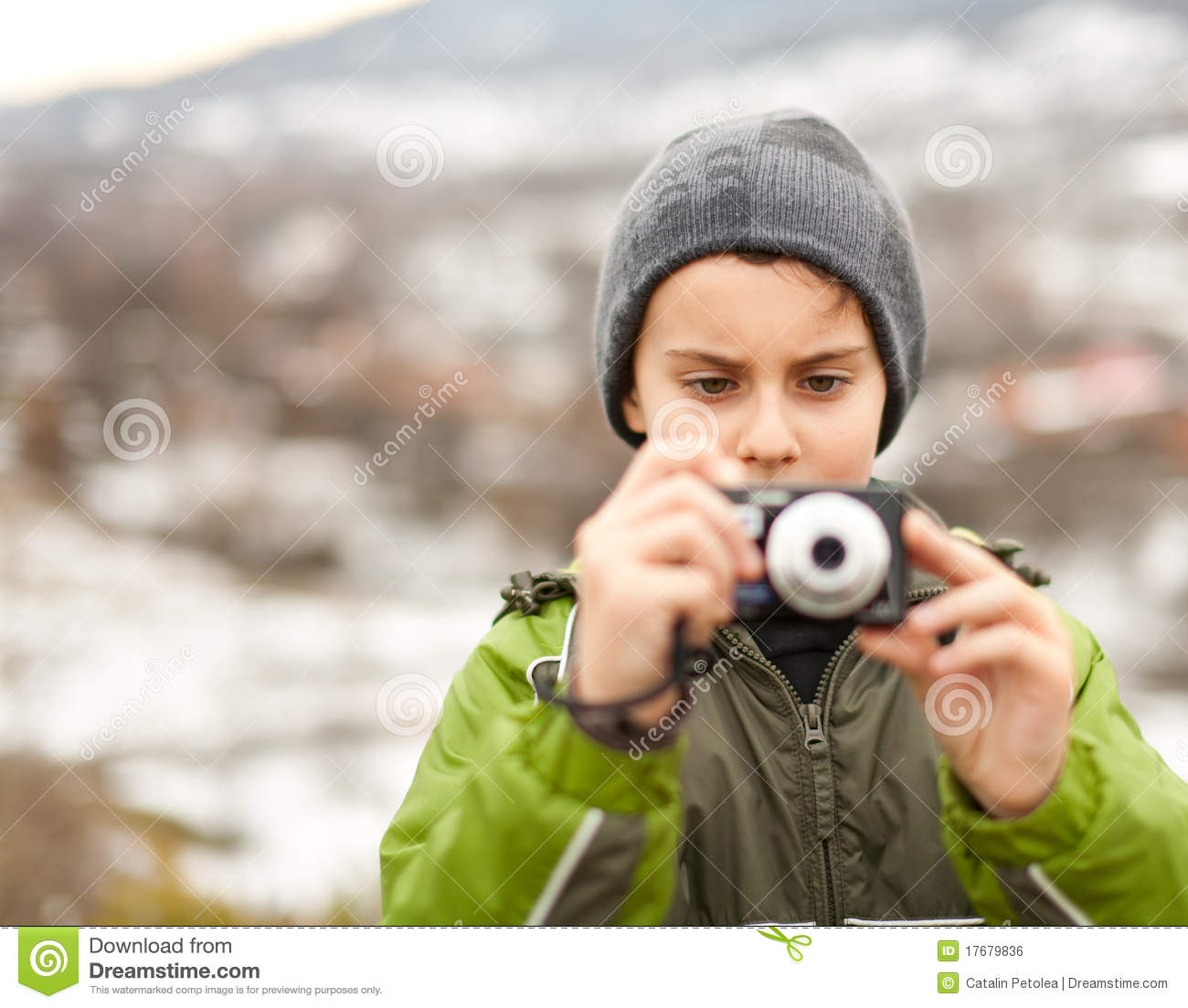 Little Boy Taking Pictures Outdoor Royalty Free Stock ...