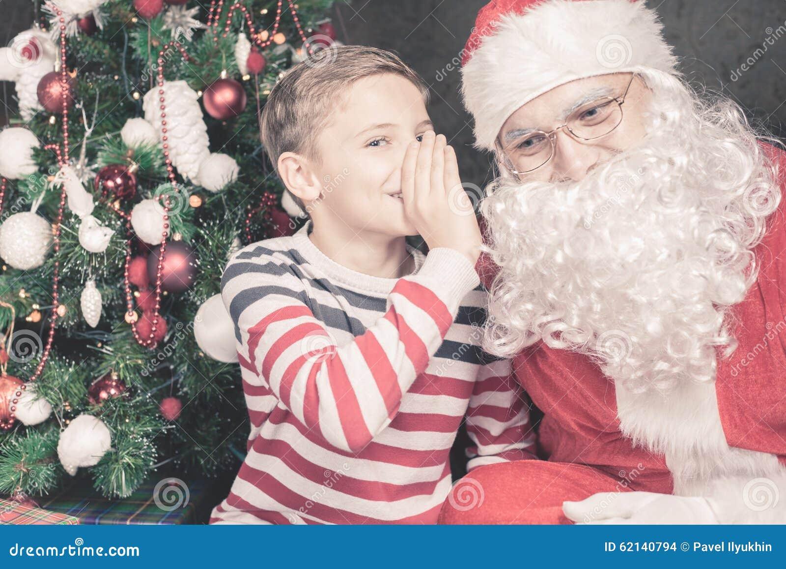 Little Boy Talk To Santa Claus Wishlist, Gifts, Christmas Night ...
