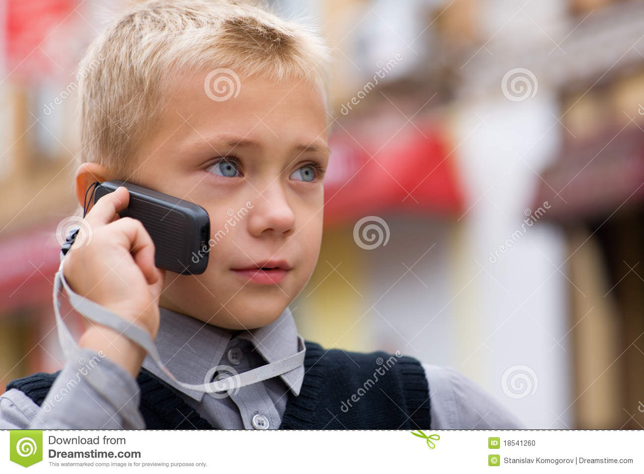 Little Boy Talking On A Cell Phone Stock Photo - Image ...