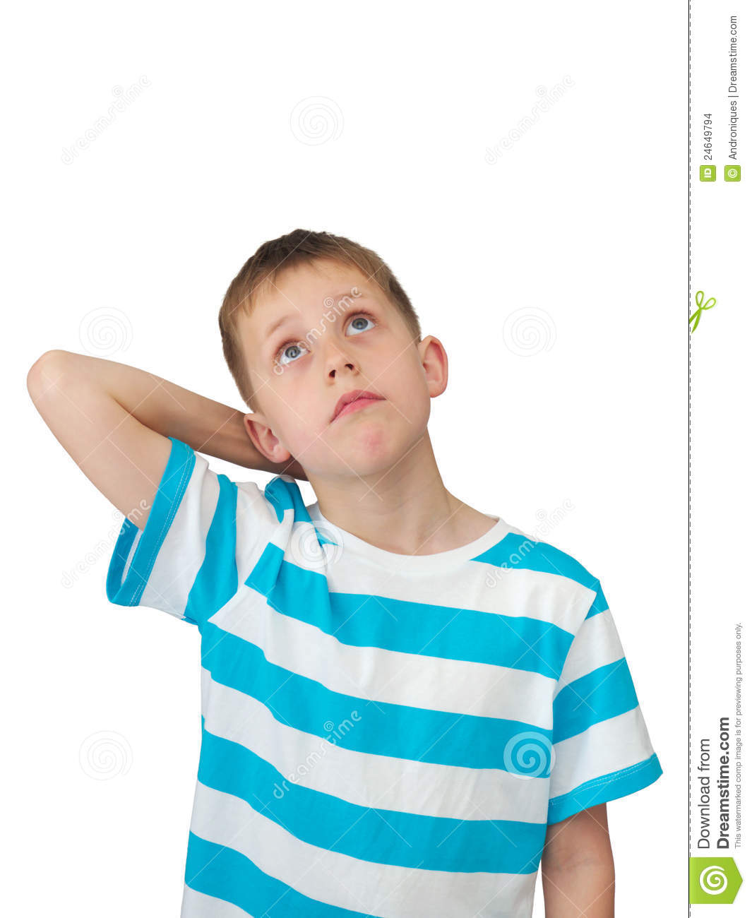 Little Boy Thinks Looking Up Stock Photo