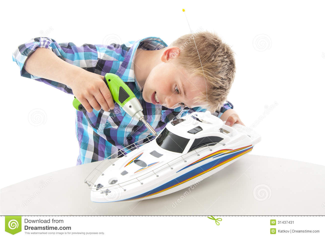 White Boys Toys : Little boy with toy boat stock image of model