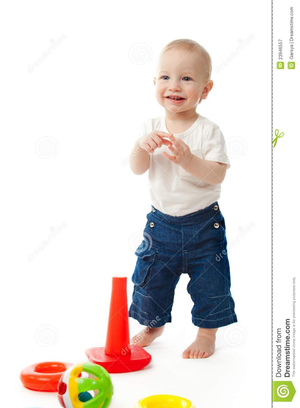 Little Boy Toys : Little boy with toys royalty free stock photography