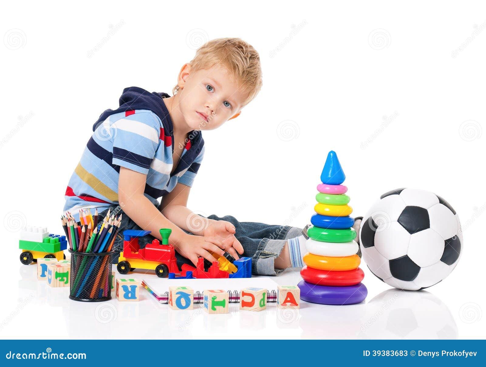 Boy Toys Background : Little boy stock photo image