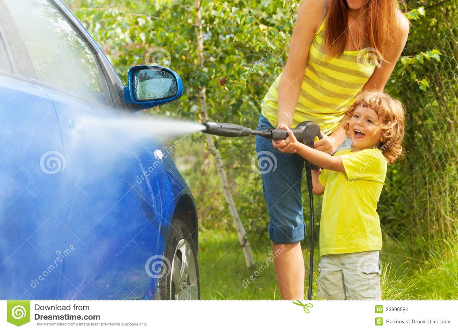 Washing Car On Grass