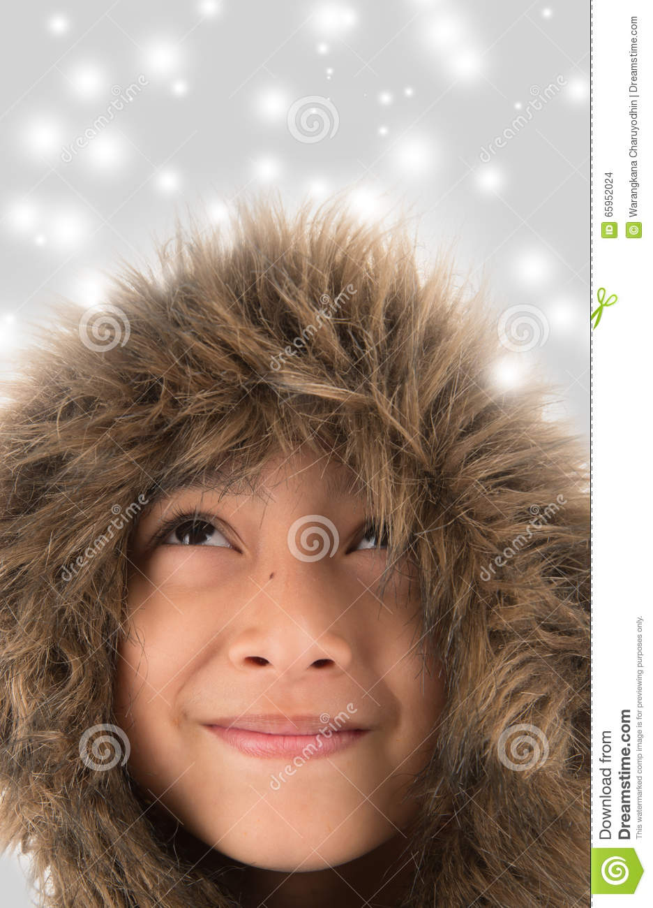 Cute Little Girl Wearing A White Fur Coat And Hat Stock