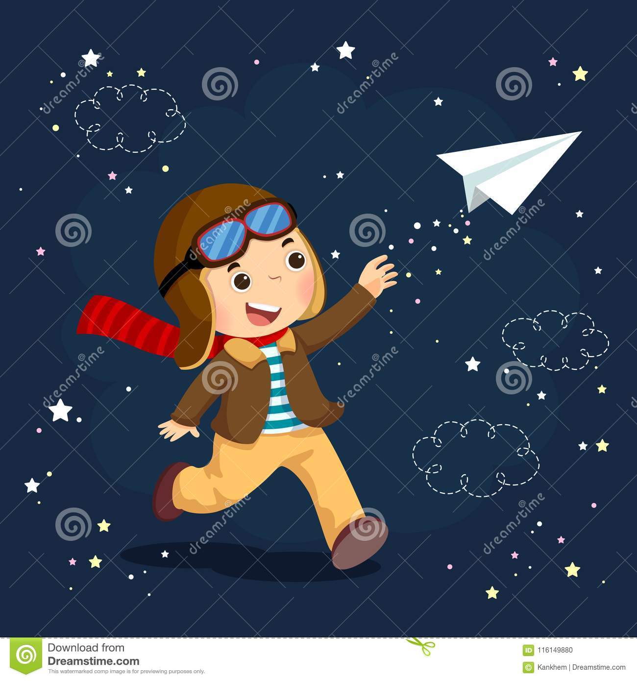 Little boy wearing helmet and dreams of becoming an aviator while flying a paper plane