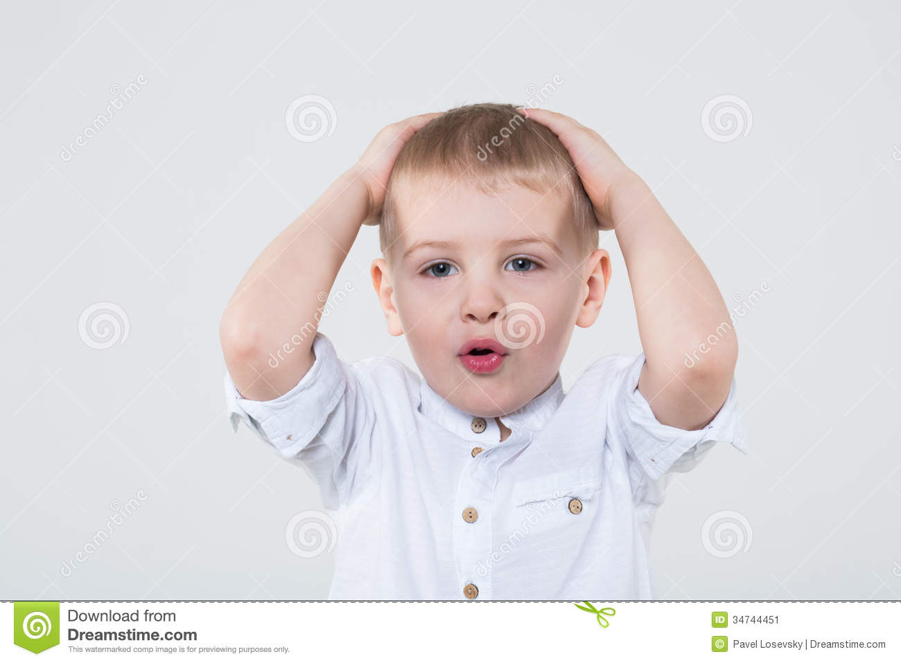 Download Little Boy In White Shirt Grabbed His Head Stock Illustration - Illustration of astonishment, hand: 34744451