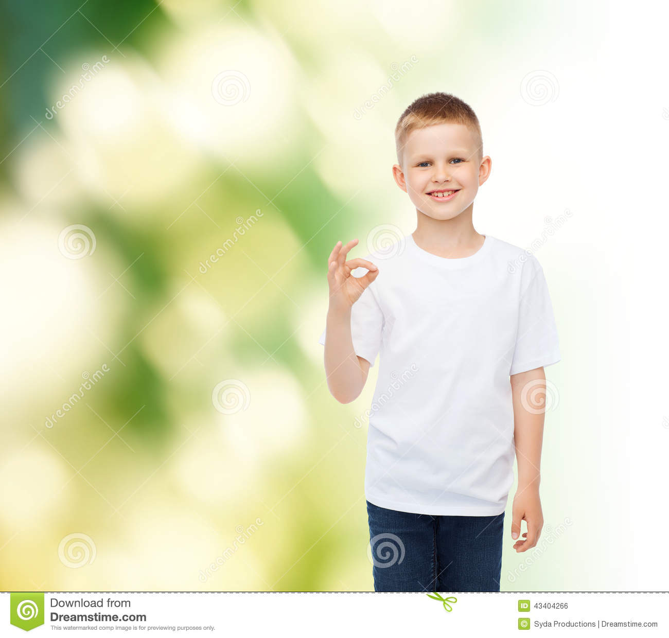 5e09b2ea5a Advertising, ecology, gesture, people and childhood concept - smiling  little boy in white blank t-shirt making ok sign over green background.