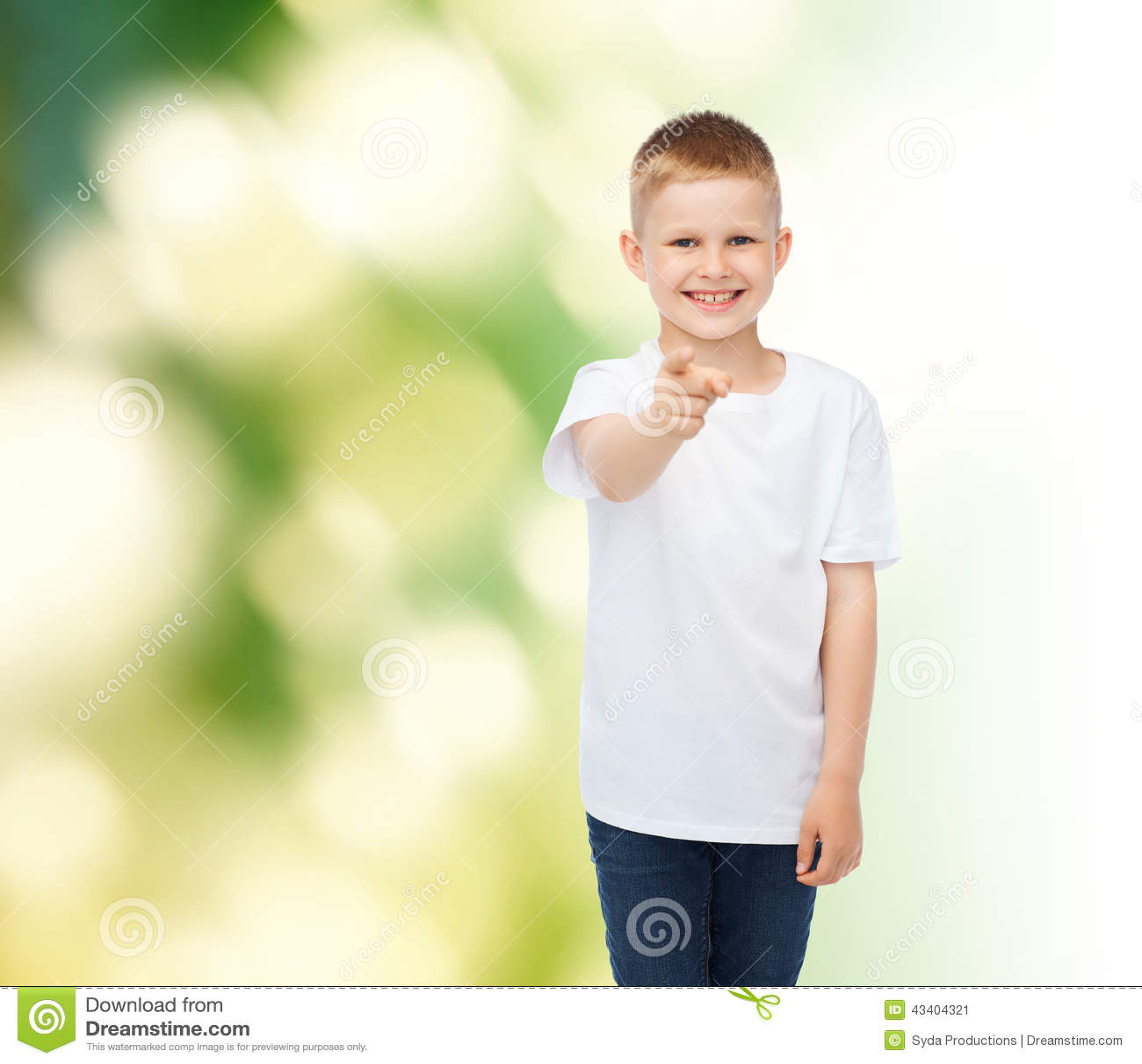 Little boy in white t shirt pointing his finger stock Boy white t shirt