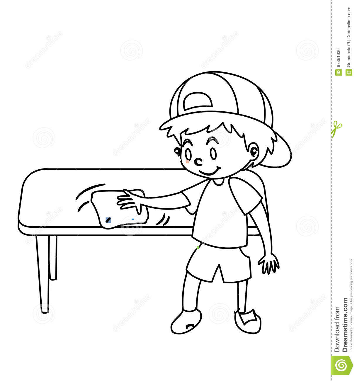 Little Boy Wiping Table Coloring Page Stock Illustration