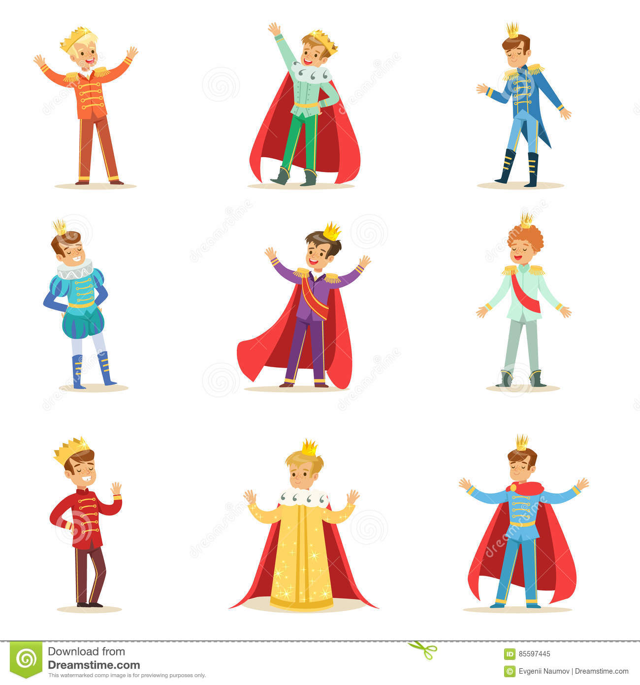 Little Boys In Prince Costume With Crown And Mantle Set Of