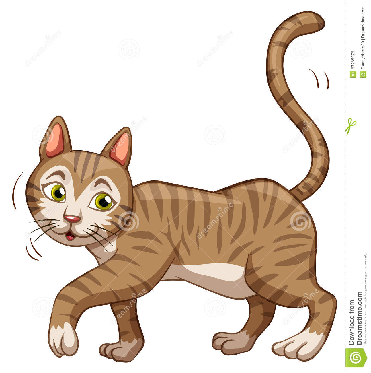 Little Brown Cat Walking Stock Vector Illustration Of Nature 67765976