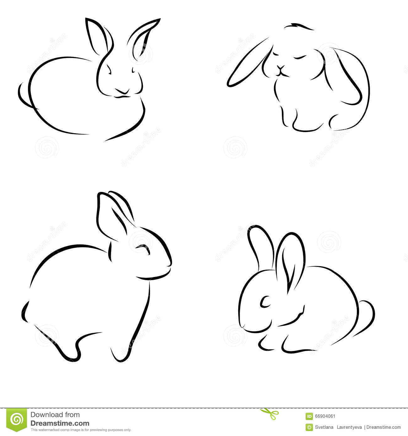 Little Bunny set Of Sketch Drawings Rabbits Set Stock