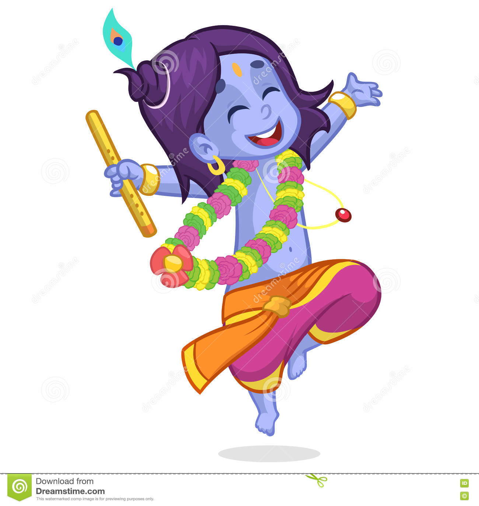 Little cartoon krishna with eyes closed dancing with a flute little cartoon krishna with eyes closed dancing with a flute greeting card for krishna birthday vector illustration kristyandbryce Gallery