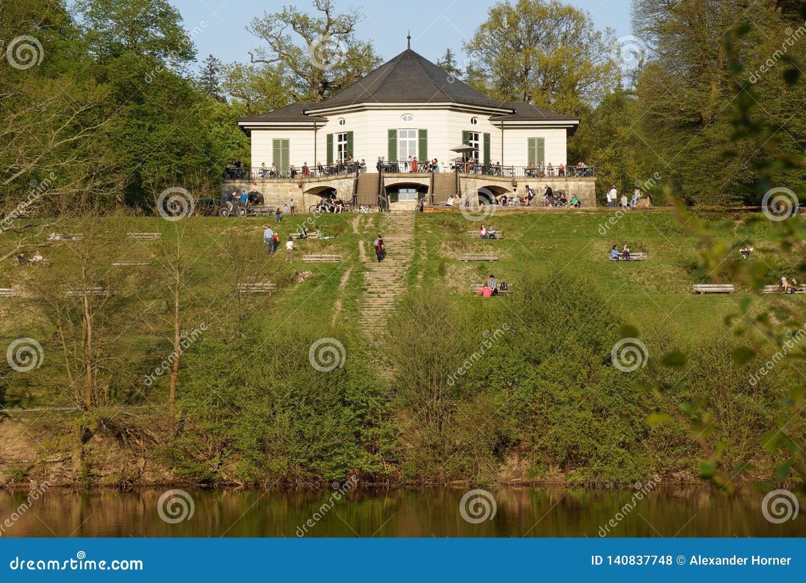 Little castle on lake shore recreation area of stuttgart