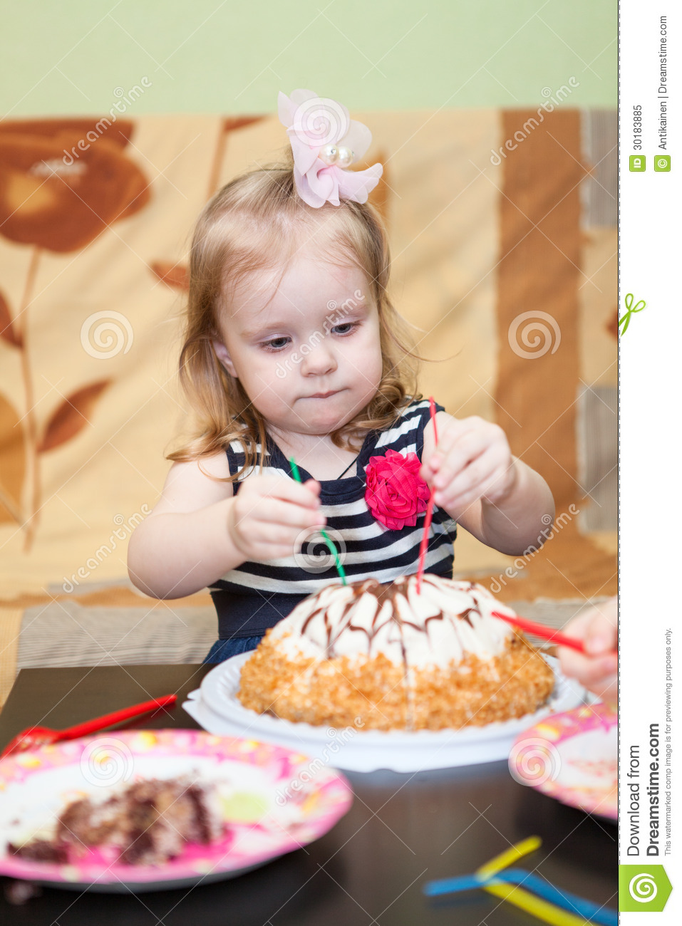Admirable Little Girl Two Ears Eating Birthday Cake Stock Image Image Of Funny Birthday Cards Online Inifofree Goldxyz