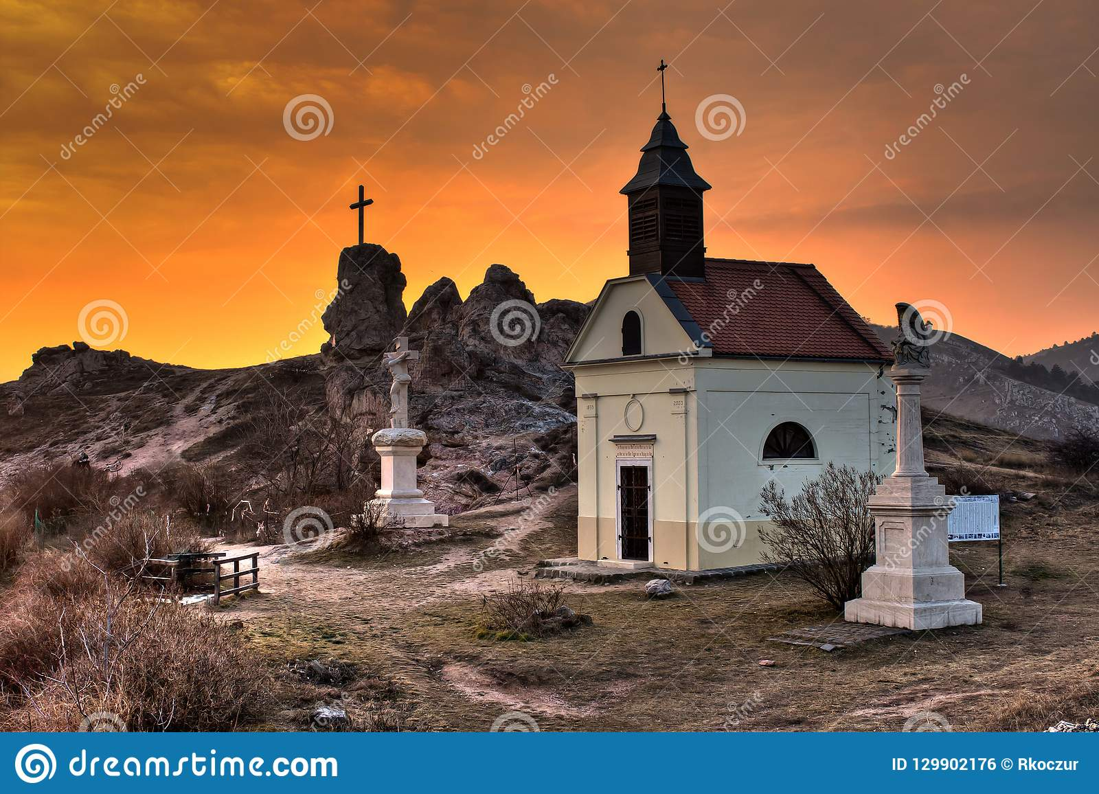 Little chapel and statues in the sunset at Budaörs, Hungary
