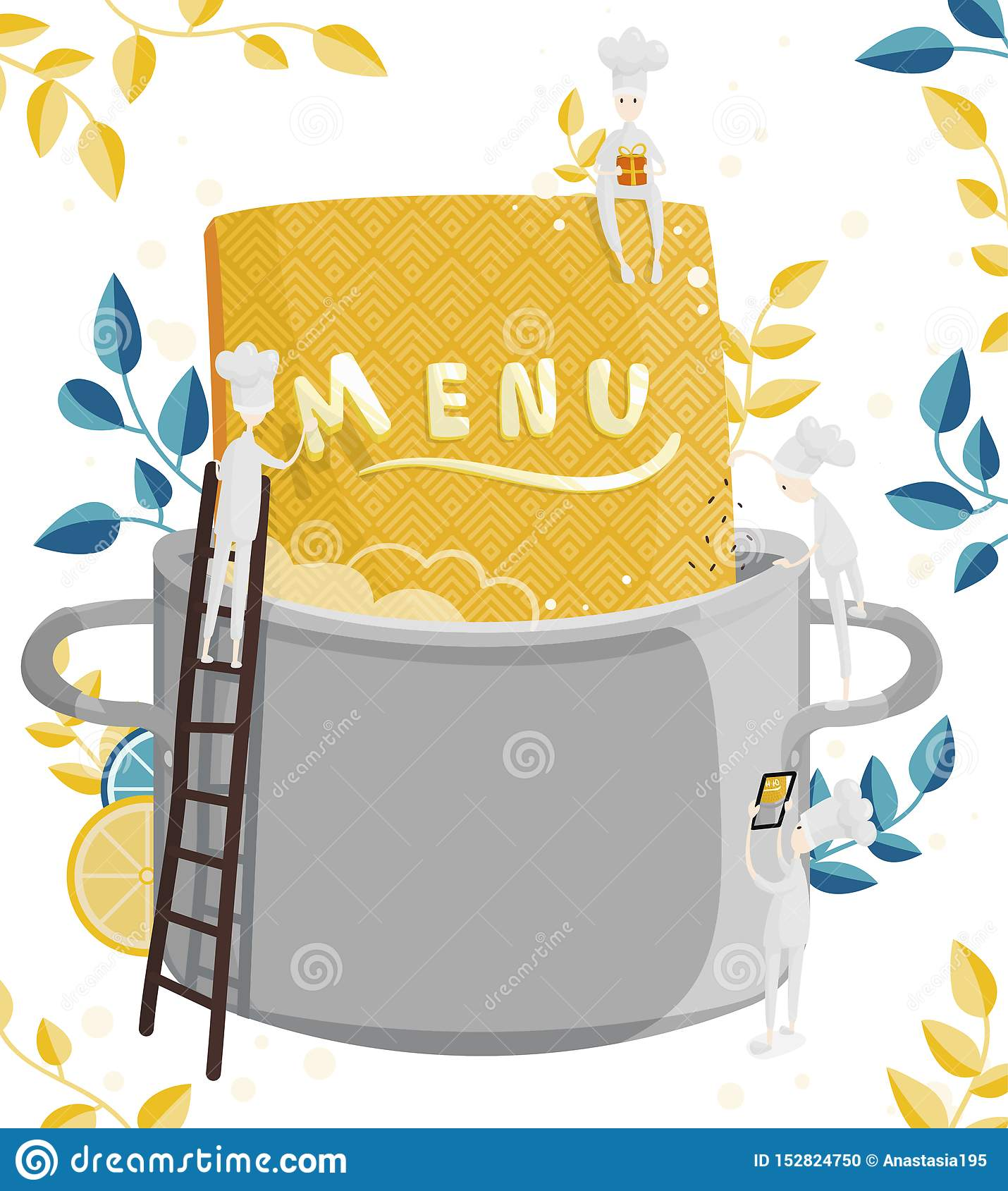 Little Characters Cooks Come Up With A Menu Illustration Of Menu Creation For A Restaurant Or Cafe Stock Vector Illustration Of Process Printing 152824750