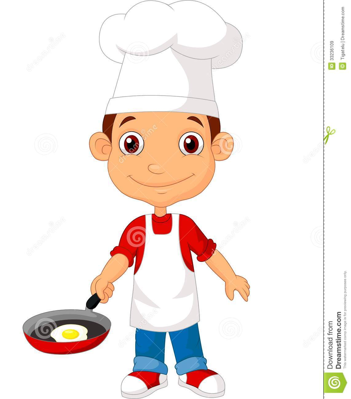 Little chef cartoon with frying pan stock vector for Material para chef