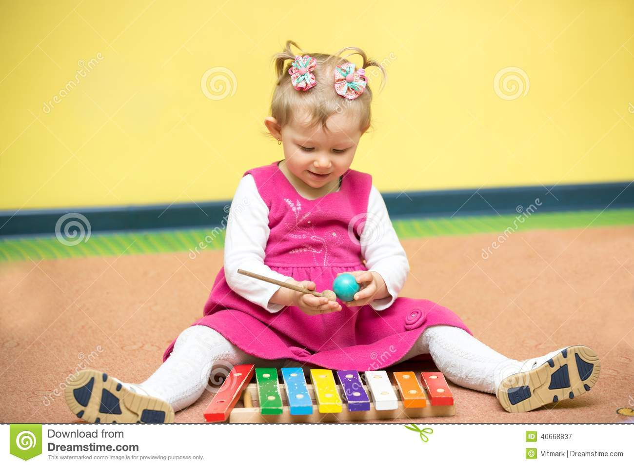 Little Child Girl Playing In Kindergarten In Montessori Class. Stock ...