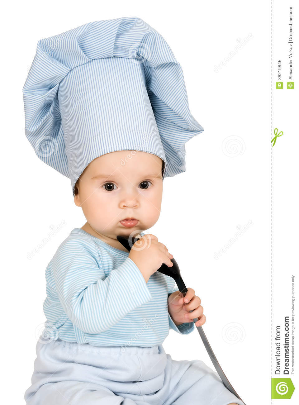 Little Child With Metal Ladle And Cook Hat Stock Image - Image of ... 0b58e82dbca5