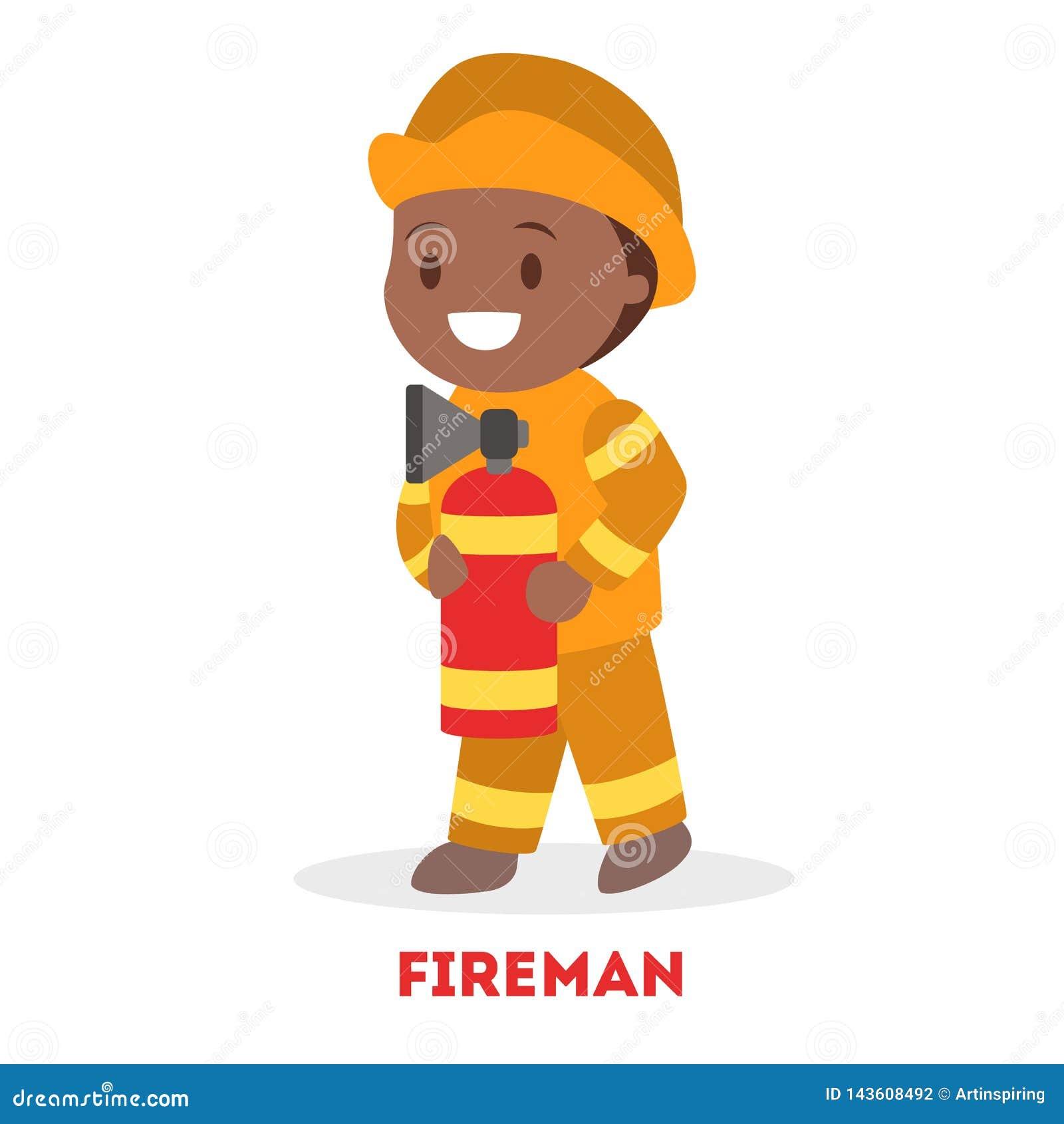 Little child play fireman. Kid firefighter in the uniform