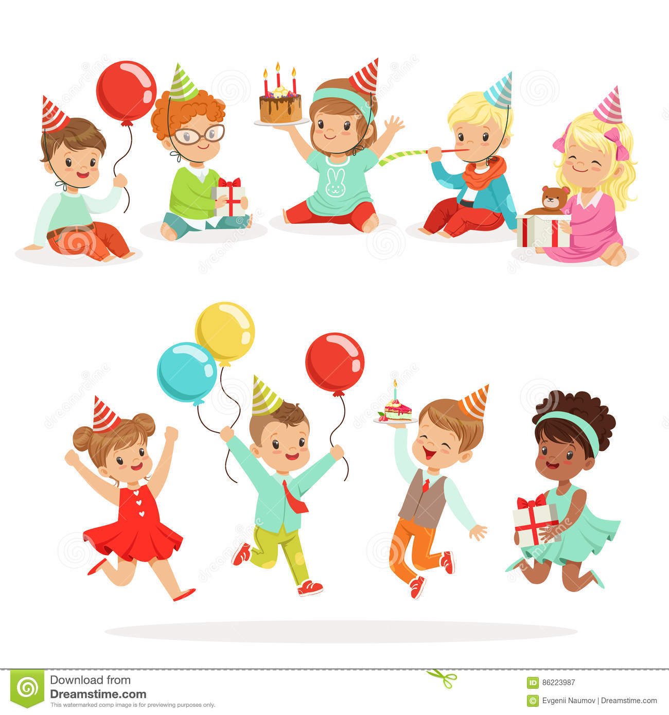 Little Children Birthday Celebration Party With Festive