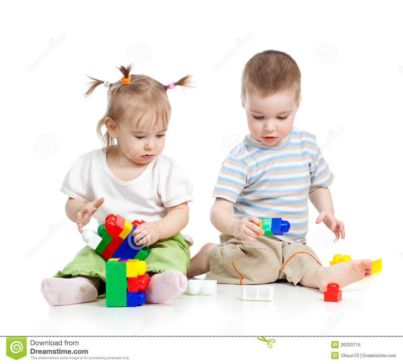 Little Children Boy And Girl Playing Together Royalty Free