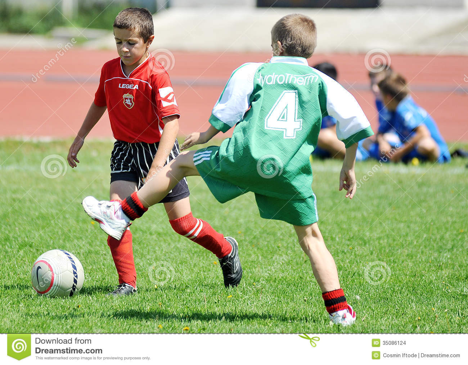 Little Children Boys Play Football Or Soccer Editorial ...