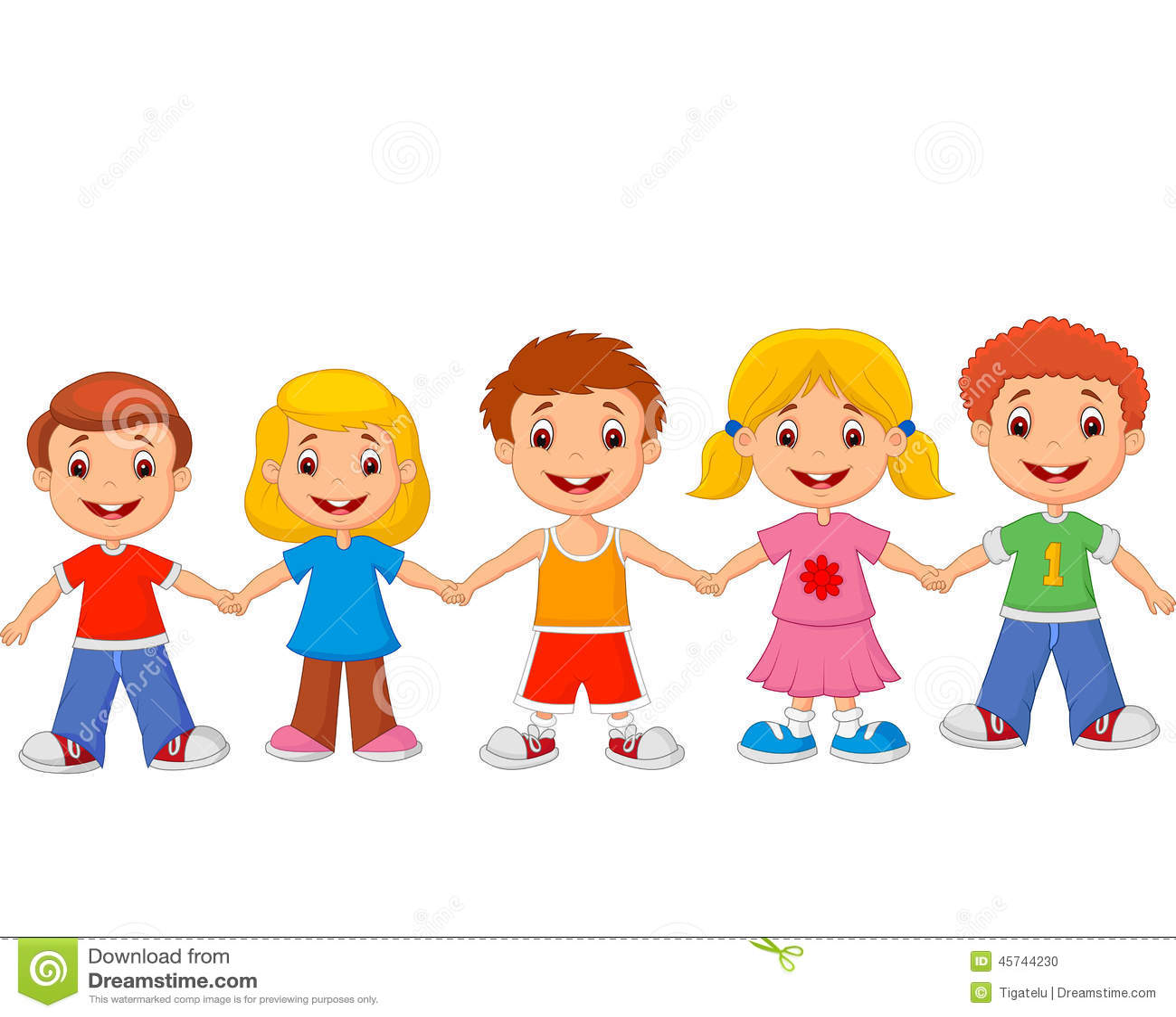 Free Barn Plans Little Children Cartoon Holding Hands Stock Vector Image