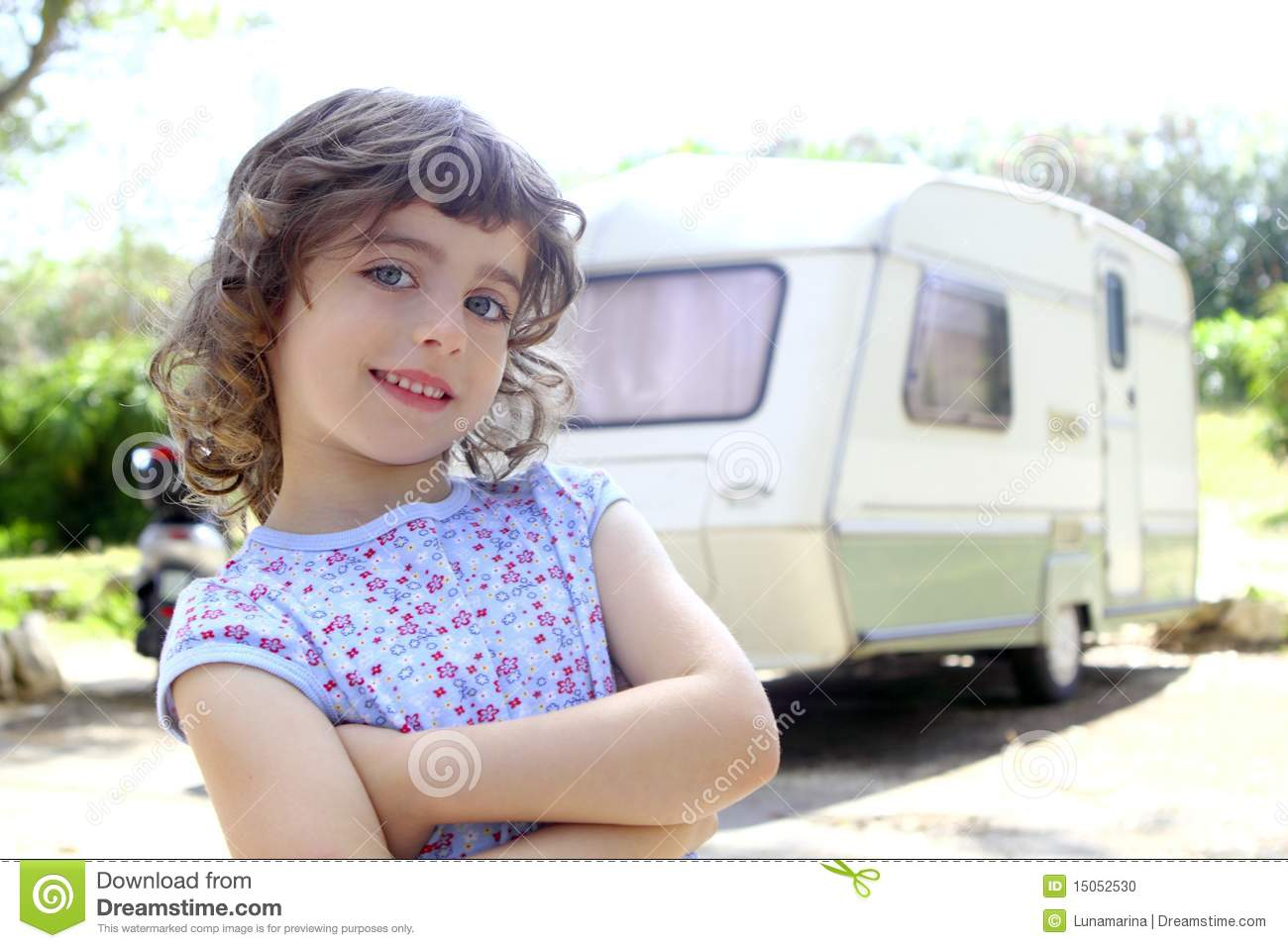 Little children girl caravan camping vacation