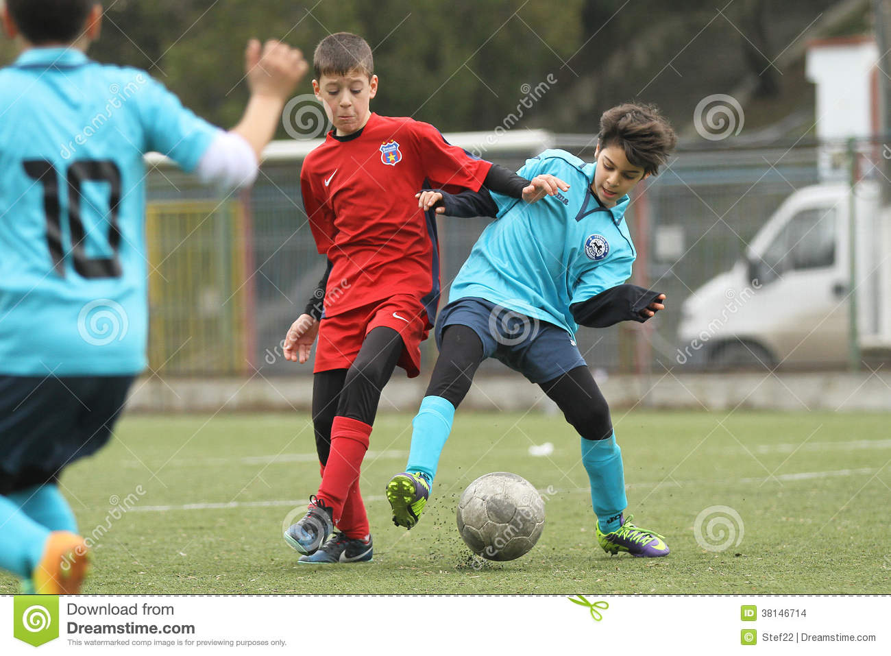 Little Children Playing Football Or Soccer Editorial Stock ...