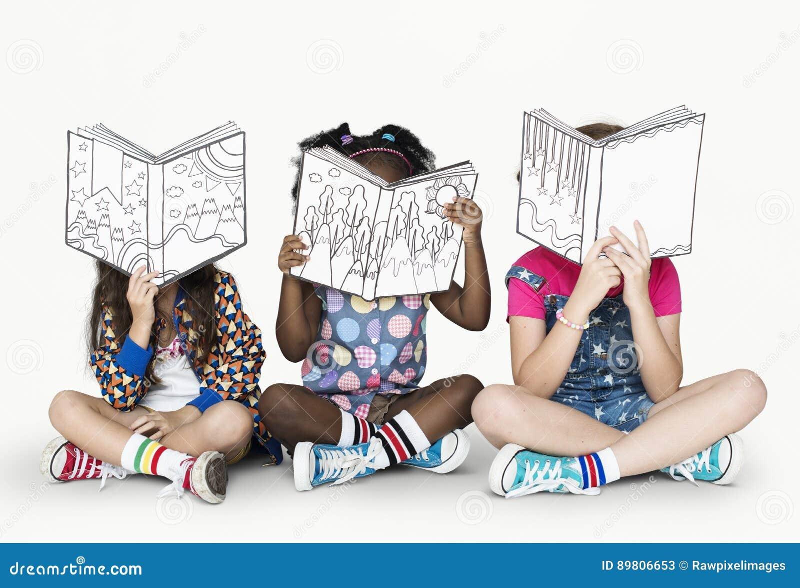 Download Little Children Reading Story Books Stock Image - Image of studio, children: 89806653