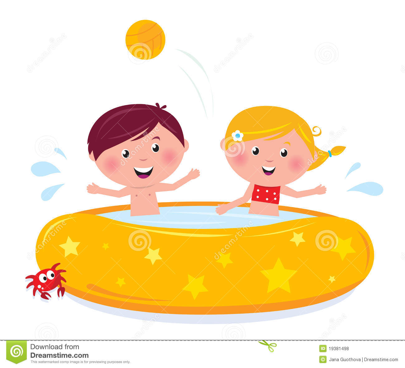 Little Children Splashing In The Swimming Pool Royalty Free Stock ...