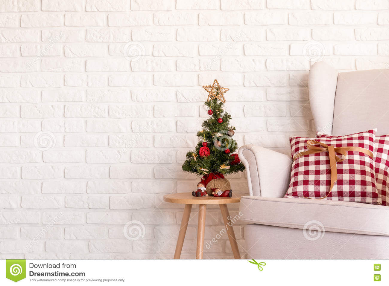 9c1b974aa848e Little Christmas Tree And A Couch Stock Image - Image of bauble ...