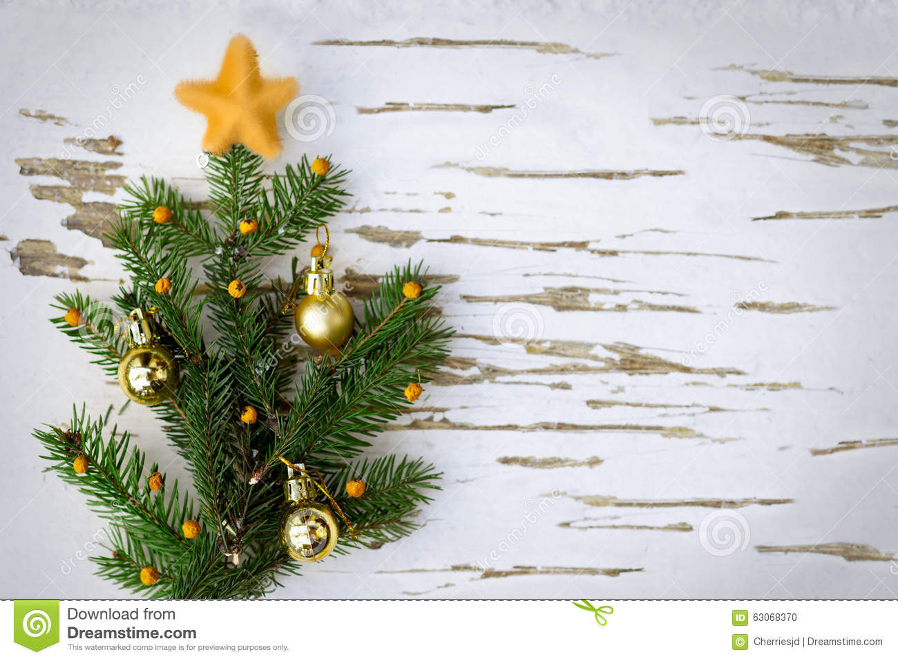 Little Christmas Tree On Wooden Background Stock Photo