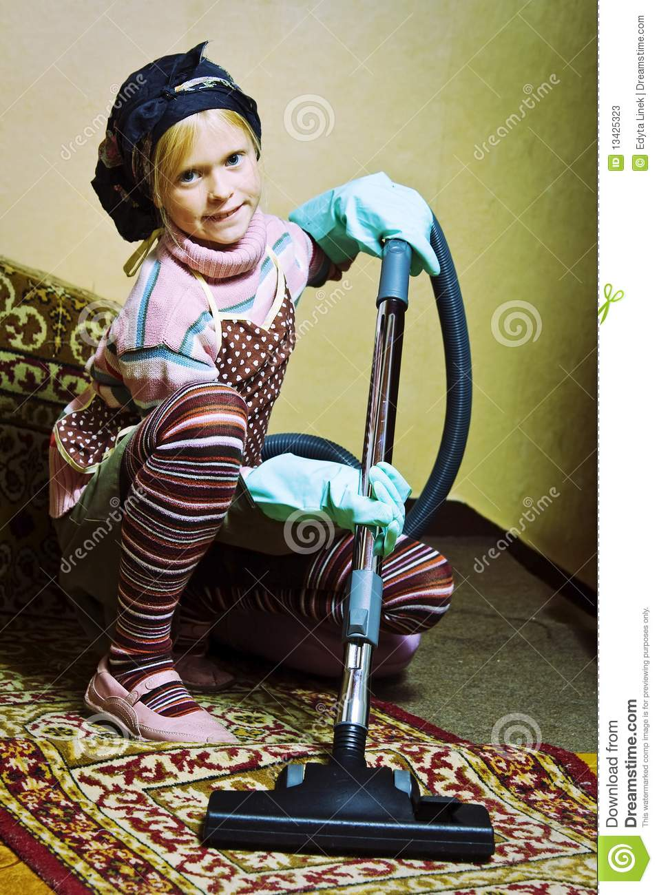 Little Cleaning Lady Stock Image Image Of Help Children